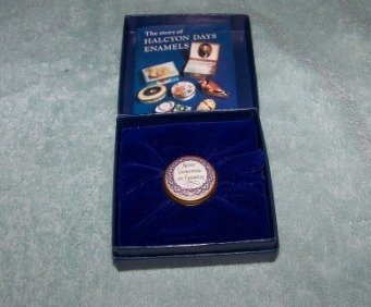 309: Halcyon Days Enamel Pill Box W/ Case