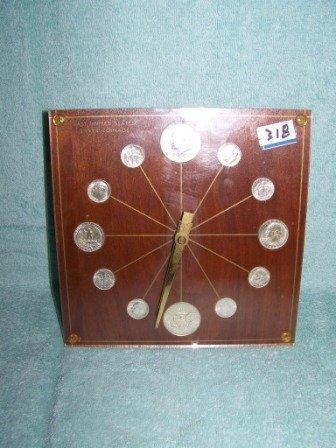 318: Numismatic Marion Key 1964 Lucite Coin Clock