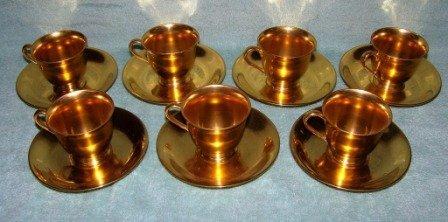 320: 7 Fine Black Starr Gorham Stouffer Gold Cups & Sau