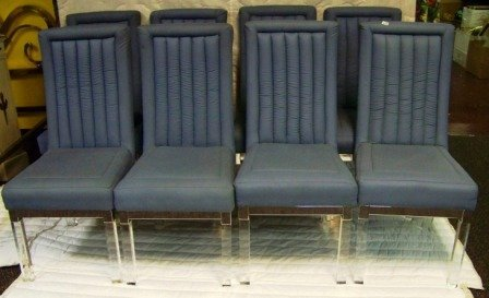 475: Set 8 Chrome Lucite Dining Chairs
