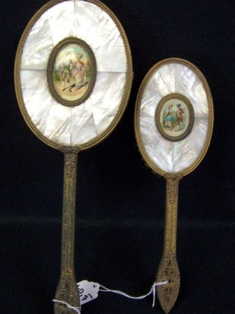 2: 2Pc. Vintage Mother of Pearl Dresser Set