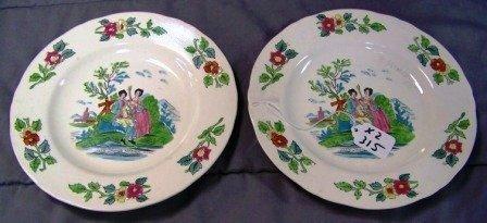 315: 2 18thc Mintons Staffordshire Salt Glaze Plates