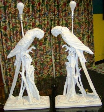 437A: Pr Massive Wood Carved Parrot Table  Lamps