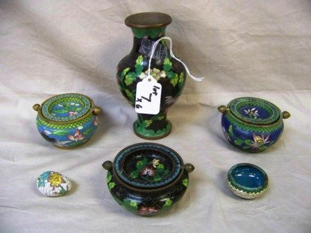 7: 6Pc Chinese Cloisonne Lot