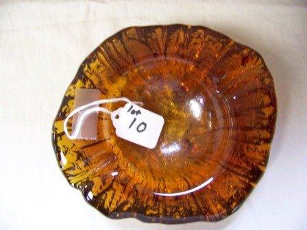 10: Vintage Free Form Amber Glass Ashtray