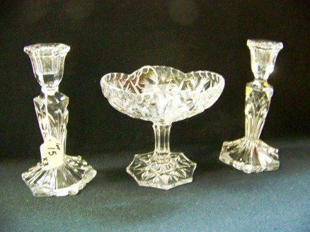 15: 3Pc Cut Crystal Compote & Candlesticks