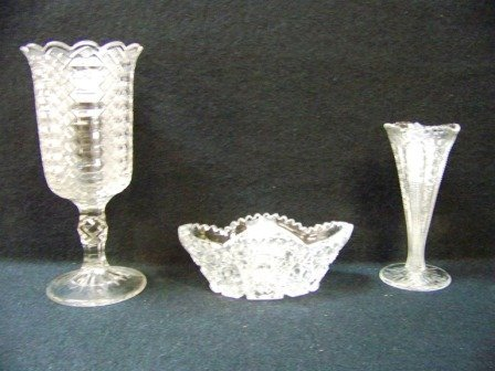 20: 3Pc Early Pressed Glass Vases & Boat