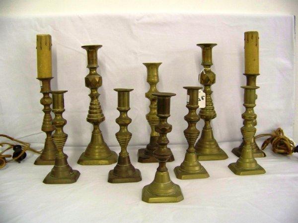 1: 10 Pc Ant English Diamond Pattern Brass Candlesticks