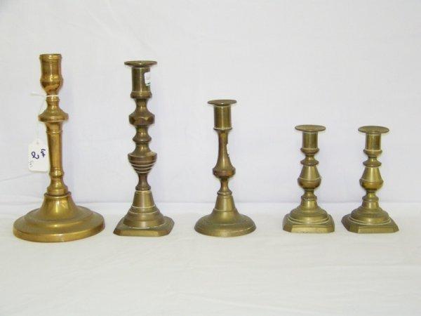 2: 5 Antique Brass Candlesticks