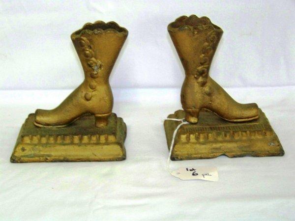 6: Pr Antique Lead Boot Match Holder Strikers