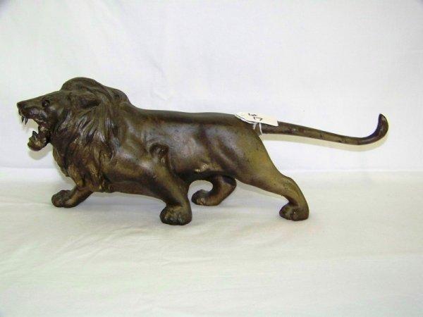 17: Antique Iron Roaring Lion Doorstop