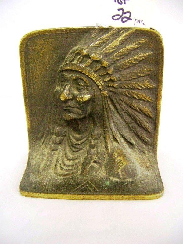 22: Pr Antique Bronze Linclon & Indian Bookends