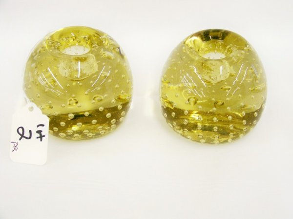 2: Pr Vintage Control Bubble Murano Candleholders