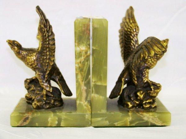 10: Pr Vintage Onyx Eagle Book Ends