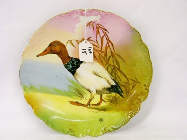 15: Early Limoges Signed MAX Duck Plate