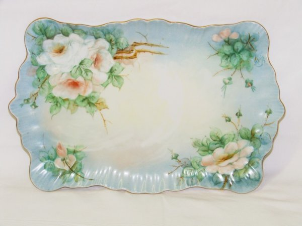 16: Hand Painted Limoges? Dresser Tray Signed Marie