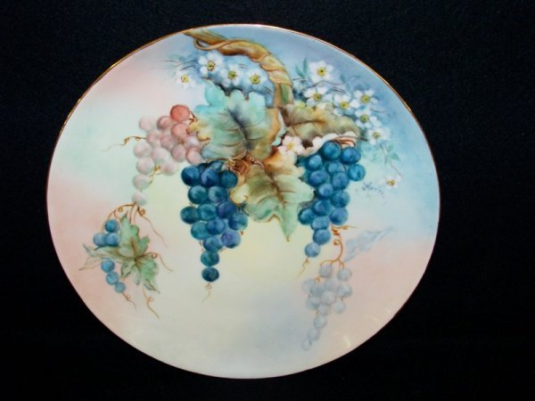 "17: 10 1/2"" Limoges? Hand Painted Plate Signed Marie"
