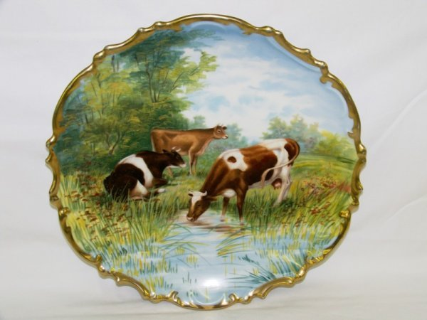 19: Early Signed Royal Vienna Hand Painted Cow Plaque