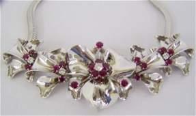 119A 14Kt Tiffany Diamond And Ruby Choker Necklace