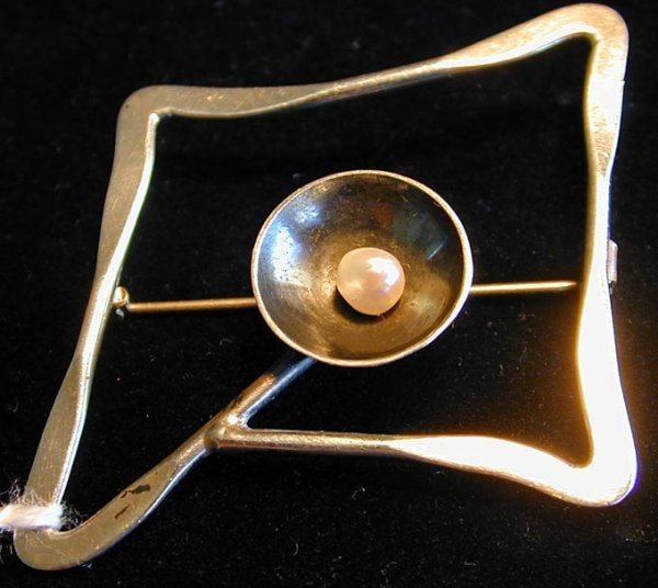 2: Vintage Abstract Sterling Silver and Pearl Brooch