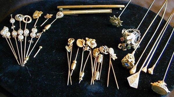 11: 36 - 14KT & GOLD FILLED STICK PINS, HAT PINS & BAR