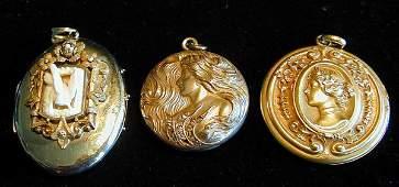 12 3 GOLD FILLED VICTORIAN LOCKETS