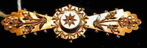 36: 15CT ENGLISH VICTORIAN BAR PIN W/ ROSE CUT DIAMOND