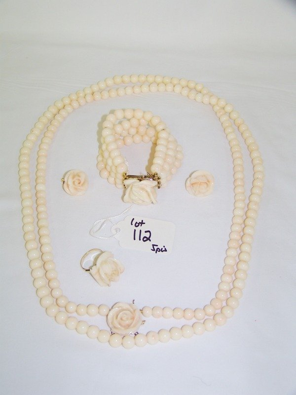 112: 5 Pc.14Kt  Rose Coral Necklace,Braclet,Ring & Earr