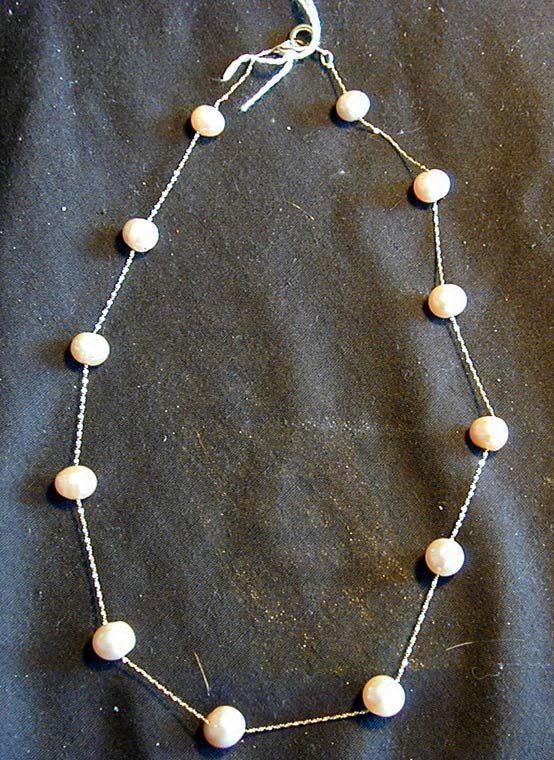 9A: 14KT FLOATING PINK CULTURED PEARL NECKLACE