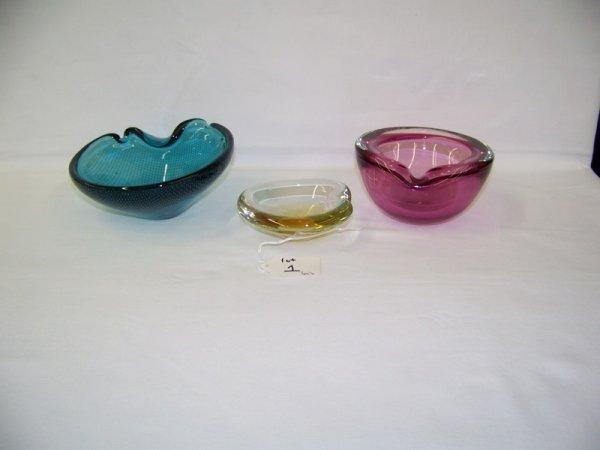 1: 3 Pc Vintage Modern Murano Art Glass Ashtrays