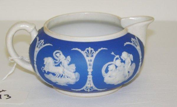 13: Early Blue & White Jasperware Creamer
