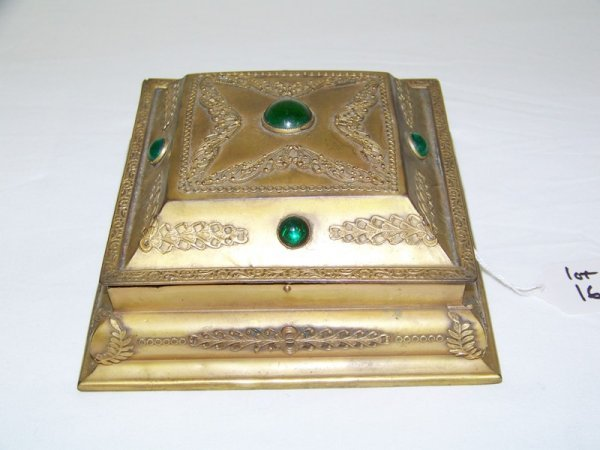 16: Vintage Brass & Jeweled Lidded Box