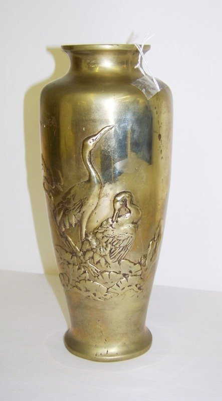 20: Early Chinese Brass Crane's Vase