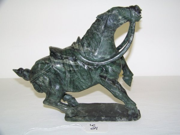 21: Early Chinese Tang Style Marble Horse