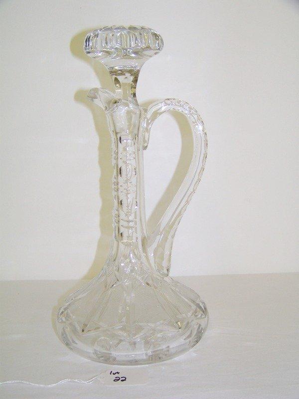 22: Vintage Cut Glass Handled Decanter
