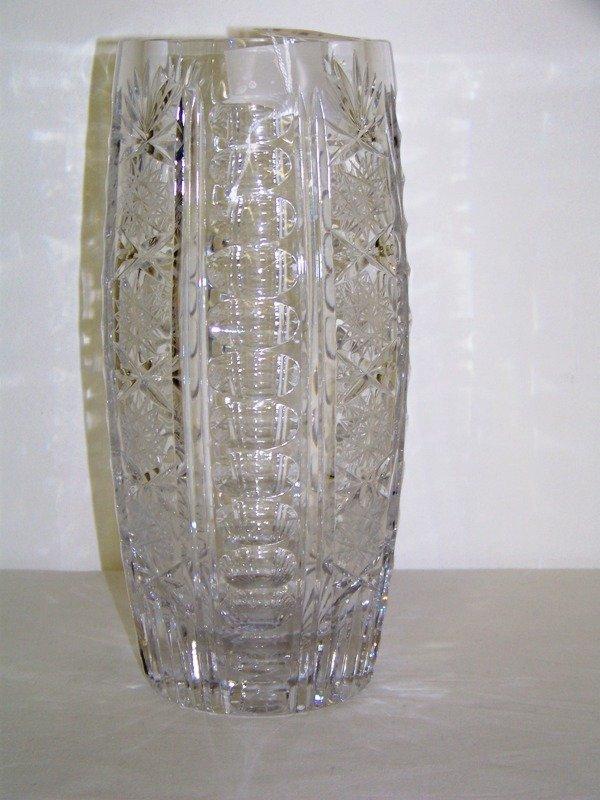 """23: Vintage Cut Glass Pinwheel Pattern 10 7/8"""" Vase"""
