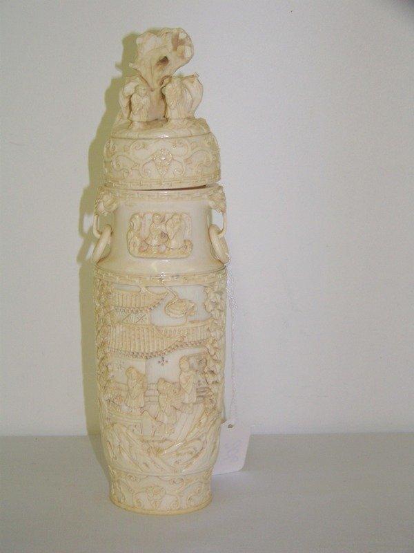 206: Chinese Carved Ivory Lidded Vase