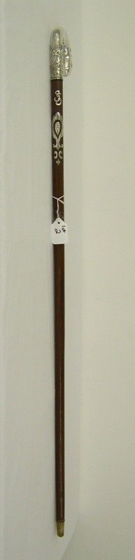 2: Early Sterling Handle Walking Stick / Cane