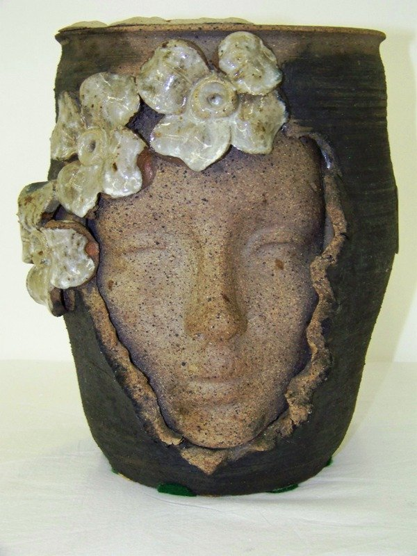 11: Modern Hand Made Clay Face Vase