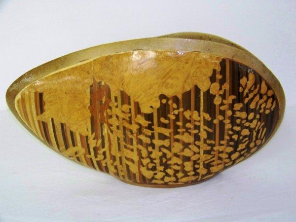 12: Funky Mid Century Modern Inlaid Pottery Vase