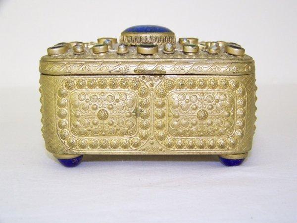 21:  Austrian Gilded Box W/ Lapis & Semi Precious Stone