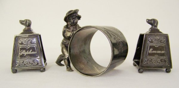 24: 3 Silver Plate Figural Napkin Rings