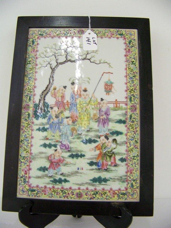 141: Chinese Famille Rose Plaque W/ Children & Men
