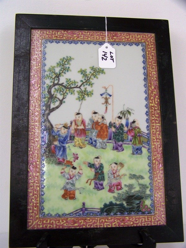 142: Chinese Famille Rose Plaque Children Playing