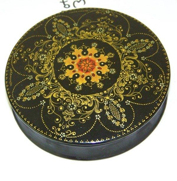 1:  Russian Signed Handpainted Laq. Round Dresser Box