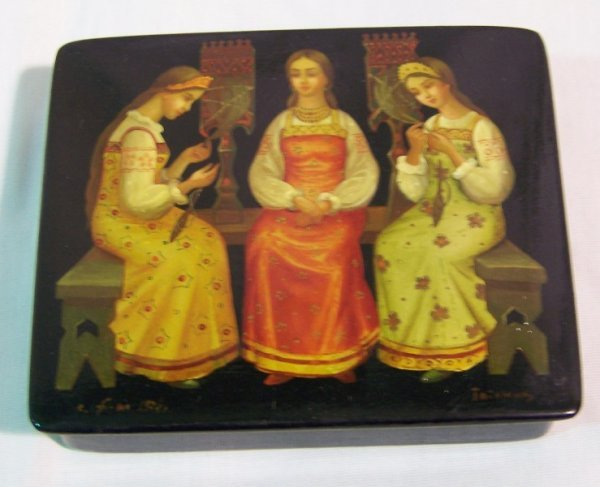 2: Russian Signed Handpainted Laq.Dresser Box