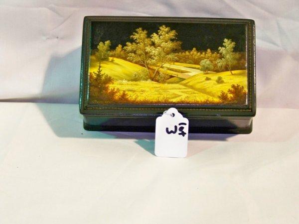 3: Russian Signed Handpainted Laq.  Dresser Box