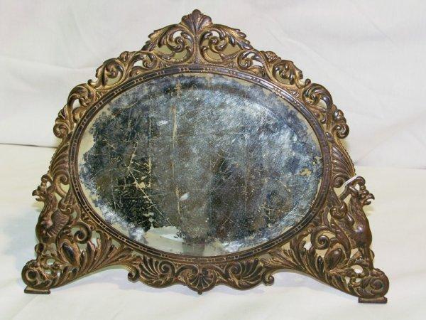 6: Antique Griffin Figural Standing Dresser Mirror