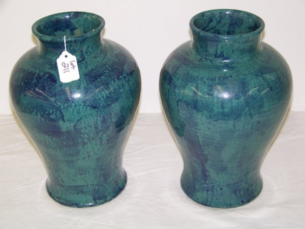 10:  Pair of Signed Pottery Vase's Dated 1935