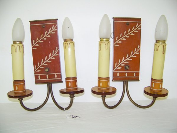 17:  Pair Early Butterscotch Bakelite Wall Sconces